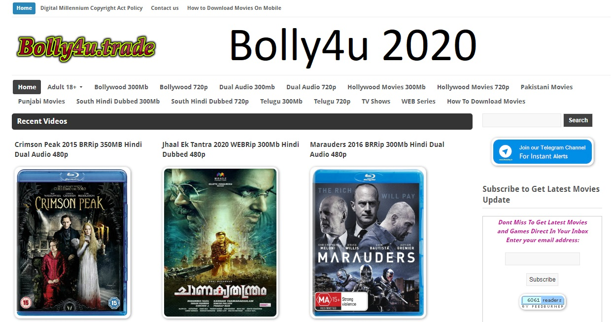 bolly4u ovie downloading website