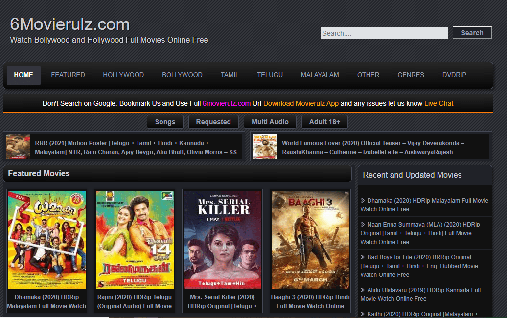 Movierulz movie downloading website